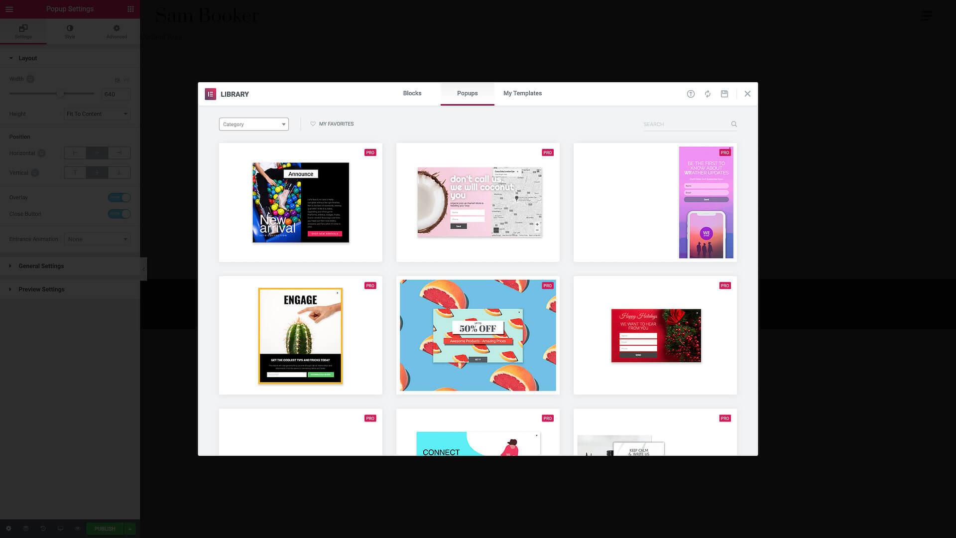 Elementor Popups: many beautiful templates already inside.